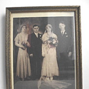 Framed Sepia Art Deco Wedding Photograph from 1931 Large