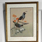 Vintage Japanese Bird Prints Signed and Framed    2 piece Pair