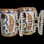 Galvani circa 1900-20  Italian Faience Mugs  Matched Wedding Set
