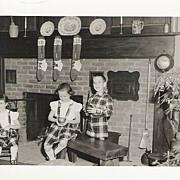Photo of 3 Children Christmas Tree Mid Century 1950s