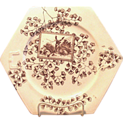 SOLD Brown and White Transferware Cake Plate Aesthetic Movement c. 1890 - Red Tag Sale Item