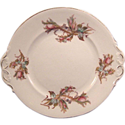 English Moss Rose Serving Dessert Plate with Bow Handles