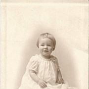 Boston Toddler in White Dress  Satin Shoes Wearing Baby Bracelet