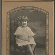 Real Photo Little Girl Wearing Necklace, Buster Brown Shoes, Great Chair