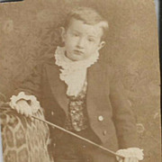 Real Photo Young Old Boy Dressed to the Nines with a Riding Crop