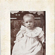 C. 1880s Beautiful Baby Boy in Short Christening Gown Real Photo