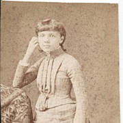 C. 1880s Young Lady Holding Rolled Diploma Real Photo
