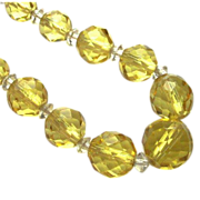 Art Deco Lemon Yellow Faceted Glass Necklace Sterling Clasp