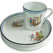 SOLD Noritake Baby Plate and Cup Hickory Dickory Dock The Mouse Ran up the Clock