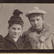 SOLD Pom Pom Hats Young Women circa 1900 Photo