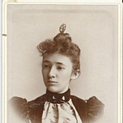 Young Lady  W/Hair Pin and Stick Pins Real Photo Cabinet Card