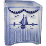 Vintage  Delft Vase with Windmill and Sailboat