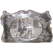 Silver Plate Brite Cut Artist Pallet Shaped Victorian Picture Frame
