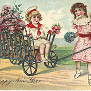New Years Post Card Embossed Edwardian Children with Cart and Flowers