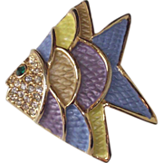 Enamel Multi-Colored Fish Brooch  FUN!!