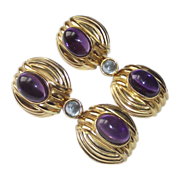 SOLD 20 Caret Amethyst  & Aquamarine Earrings Sterling - Gold Wash