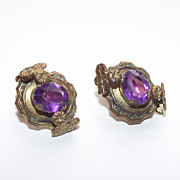 1930s Violet Purple Stone Clips Style Earrings