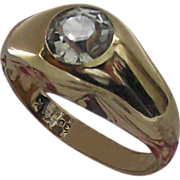 Gold Fill Gentlemans Gypsy Set Clear Stone Ring sz 10.5
