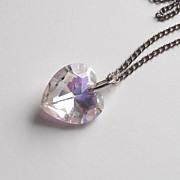 Watermelon  Iris Glass Heart Pendant Necklace