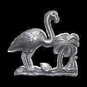 Vintage Sterling Silver Flamingo Palm Tree & Sail Boat Brooch
