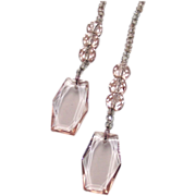 Art Deco Pink and Clear Lariat  Stunning Faceted Pink Drops