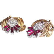 Vintage Crown Trifari Gold Tone Clips with Hot Pink Baguette Stones