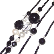 SALE PENDING Sunya Currie Onyx, Shell Pearl, Crystal and Faceted French Jet Necklace 40""