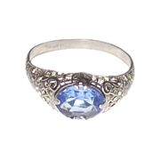 Edwardian Sterling Silver Filigree Ring with Ceylon Sapphire Paste Stone
