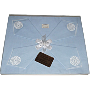 Vintage Blue and White Linen Luncheon Cloth with 4 Napkins New in Box Unused
