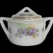German Art Deco Biscuit Jar with Hand Painted Violets