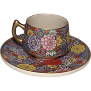 Japanese Satsuma Demi Tasse size Tea Cup and Saucer Chrysanthemums