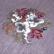 Completed Vintage Beaded Needlepoint     Ready to Use