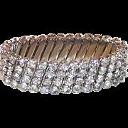Four Row Clear Rhinestone Expandable Bracelet