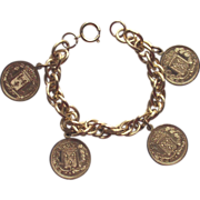 Gold Tone Multi Link Bracelet with French Coins