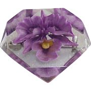 Orchid Flower Lucite Brooch Embedded Style