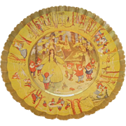 German Pressed Fluted Paper Bowl with ~1930s ~ Snow White and the Seven Dwarfs