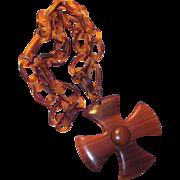 1940s Hard Plastic Tortoised Chain with Large Maltese Cross Pendant