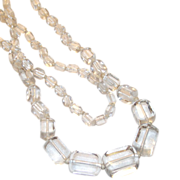 "Clear Glass Art Deco Ice Cube Shape Beads 34"" Long"