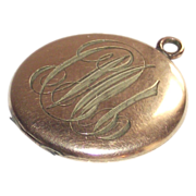 Gold Fill Locket with Rose Gold Frames Engraved Circa 1940s