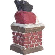 Hand Carved Santa Stuck in the Chimney