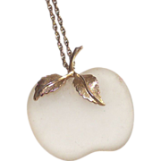 Frosted White Glass Apple Pendant Necklace by Avon