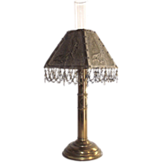 Brass Wall Hanging Convertible to Table Candle Stick Lamp with Brass Punched Shade