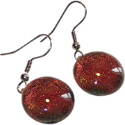 Foil Back Glass Domed Drop Earrings  They Change Color   Hand Made