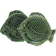 Dryden Tin Glaze Arts and Crafts Green Fish Plate