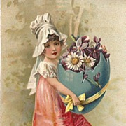 SOLD German Embossed Edwardian Girl Easter Egg with Violets
