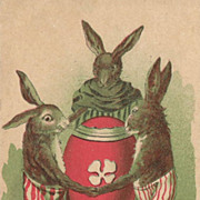 SOLD Easter Post Card with Three Rabbits