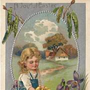 SOLD Heavily Embossed Easter Post Card Little Girl with Chicks and Violets