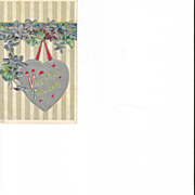 Embossed VAlentine Post Card with Violets