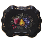 Early Fruit Tole Tray  Wonderful Artist Signed