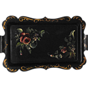 SOLD Roses and Violets 1930s Tole Tray